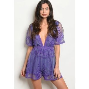 Pants - NWT Purple lace romper with deep V